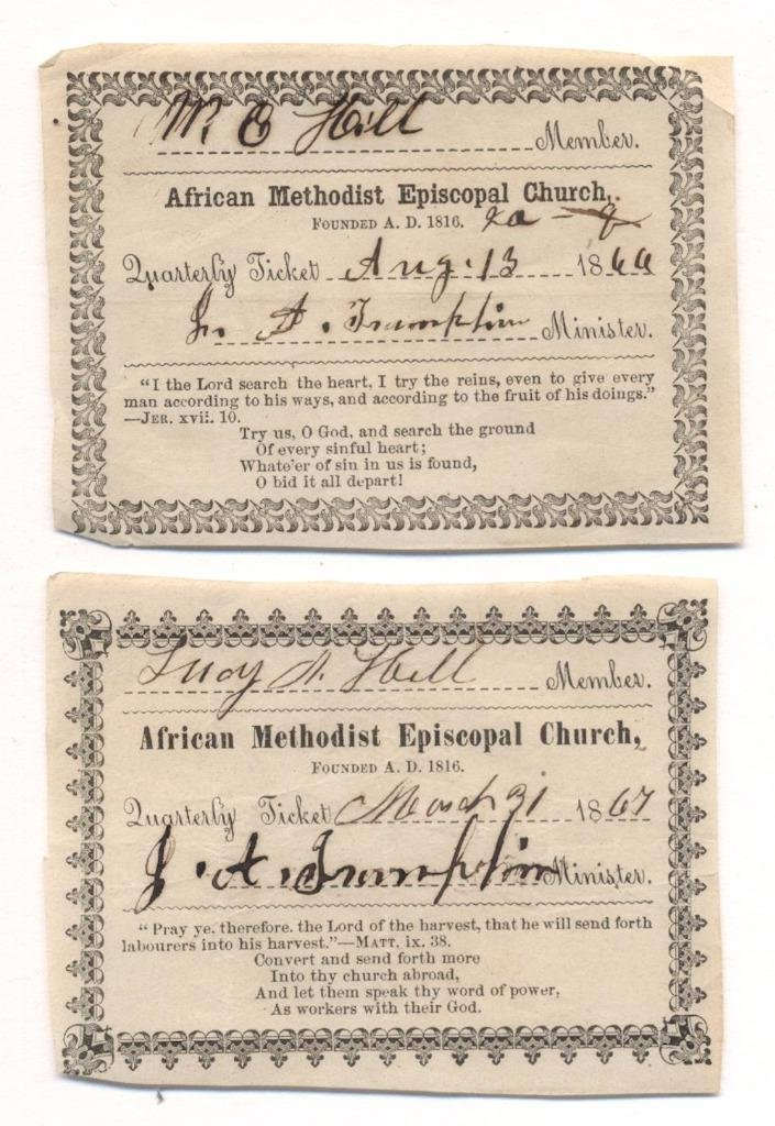 Two African Methodist Church Member Cards, 1867