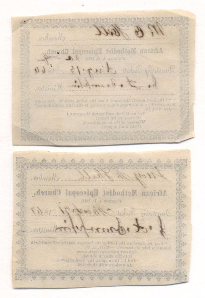 Two African Methodist Church Member Cards, 1867 - 2