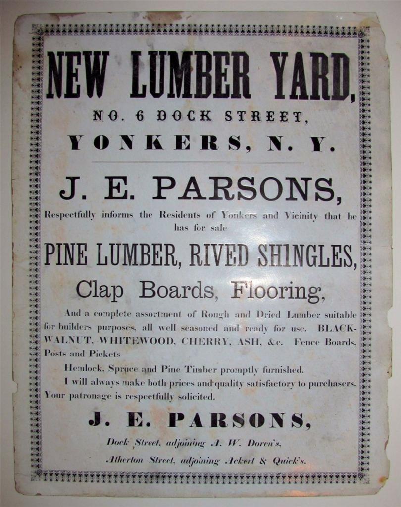 Antique Advertising Broadside New Lumber Yard, 1865