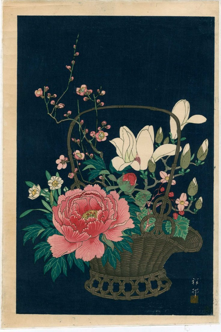 Ohara Koson: Basket of Flowers, 1932