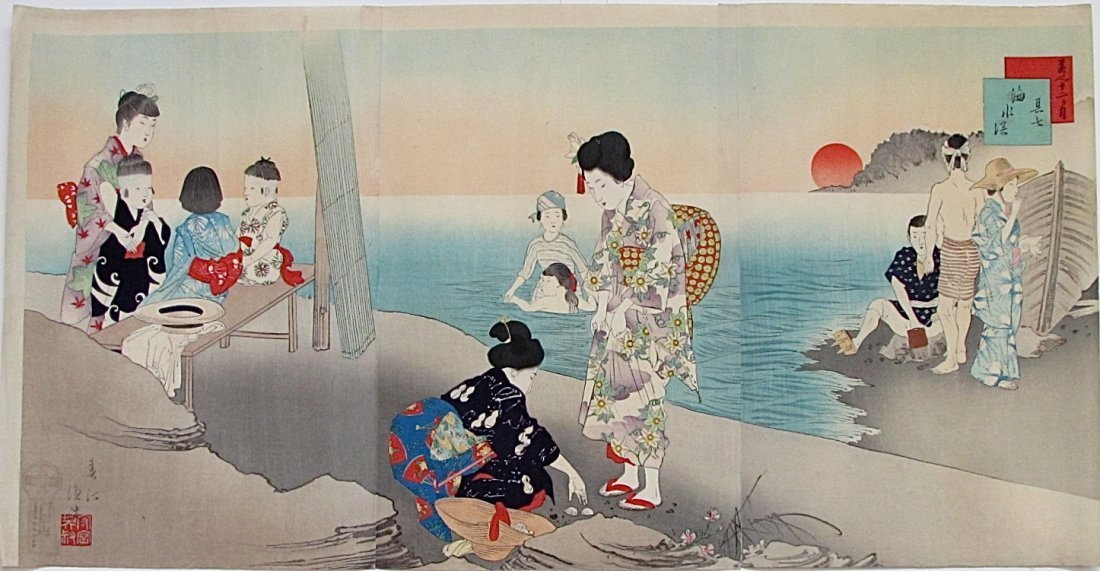 Miyagawa Shuntei: July, by the Seashore, 1898