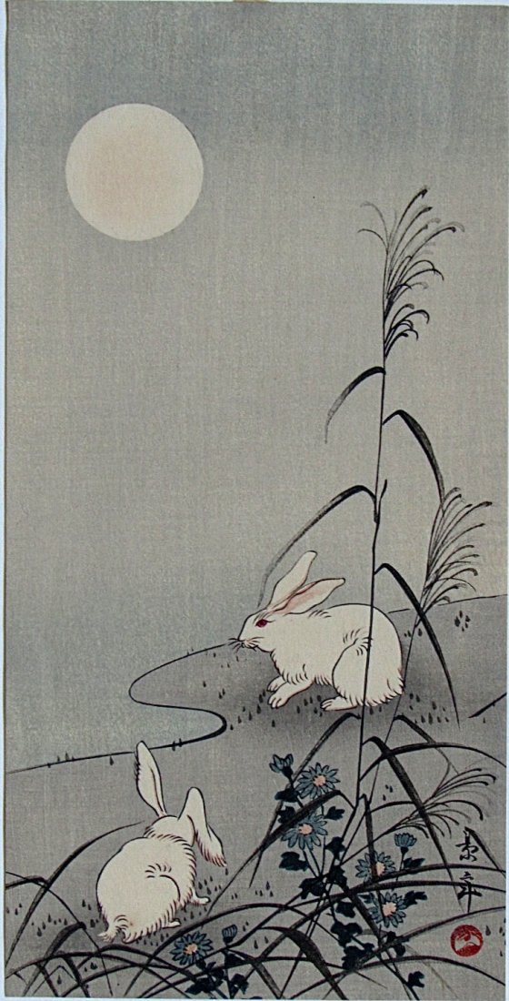 Imao Keinen: Two Rabbits by Moonlight