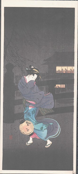 Shotei: Cold Winter Wind/Woman Carrying a Lantern, 1936