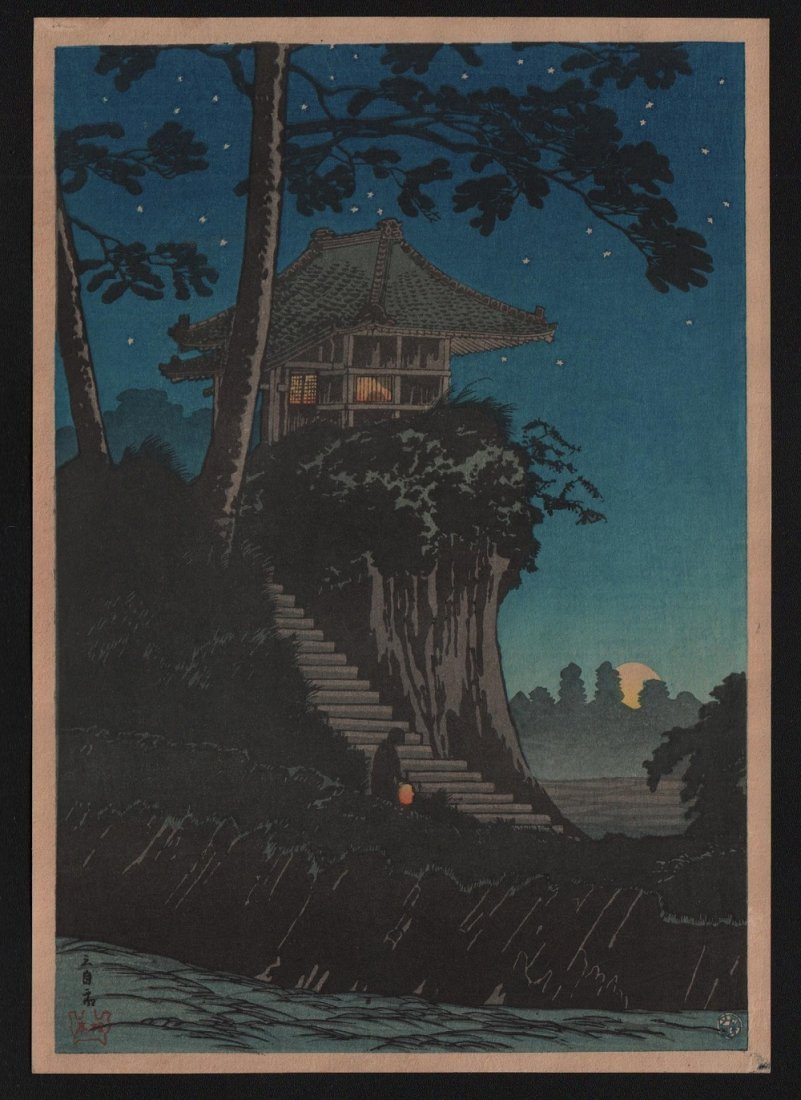 Takahashi Shotei: Moonrise at Tokumochi, 1936