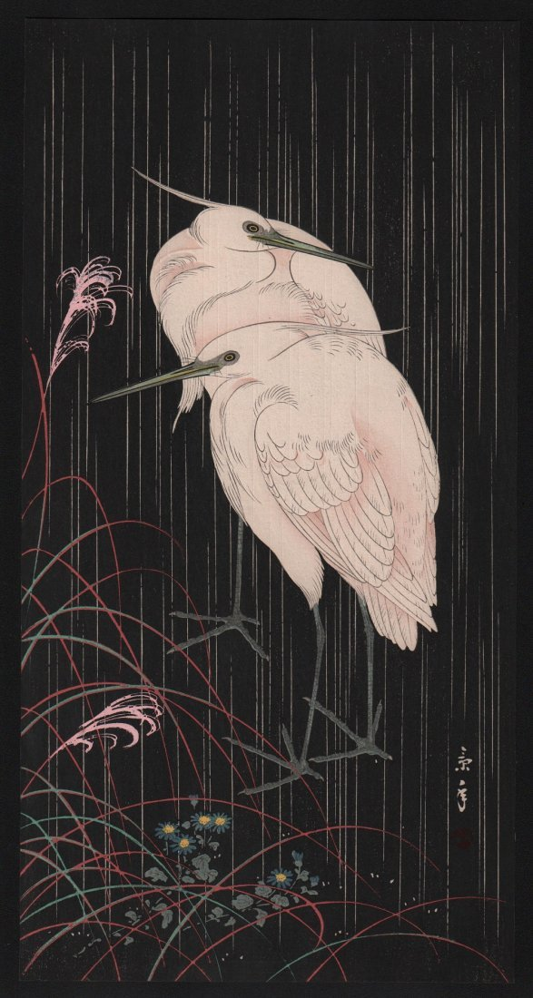 Imao Keinen: Two Egrets in Rain, 1910's
