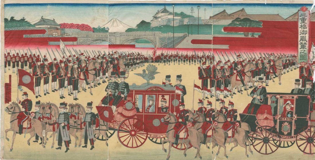 Utagawa School: Meiji Emperor's Horse Drawn Carriage,