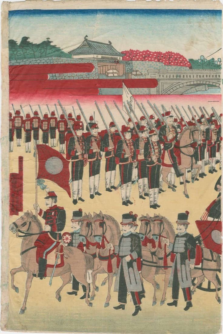 Utagawa School: Meiji Emperor's Horse Drawn Carriage, - 2