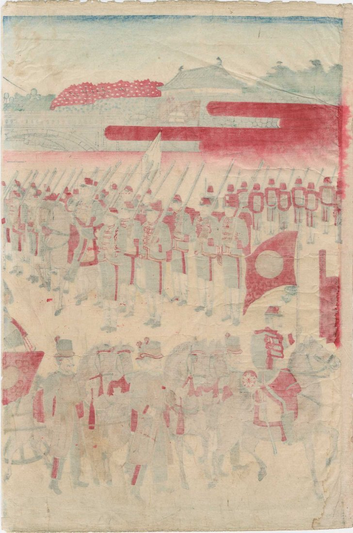 Utagawa School: Meiji Emperor's Horse Drawn Carriage, - 3