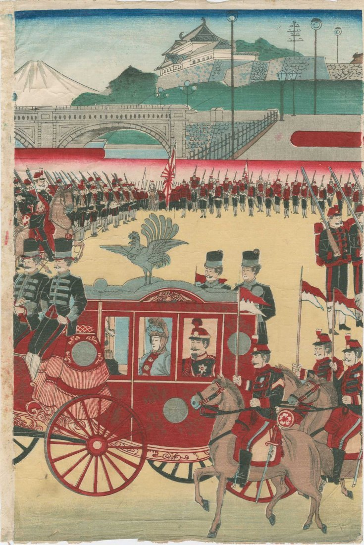 Utagawa School: Meiji Emperor's Horse Drawn Carriage, - 4