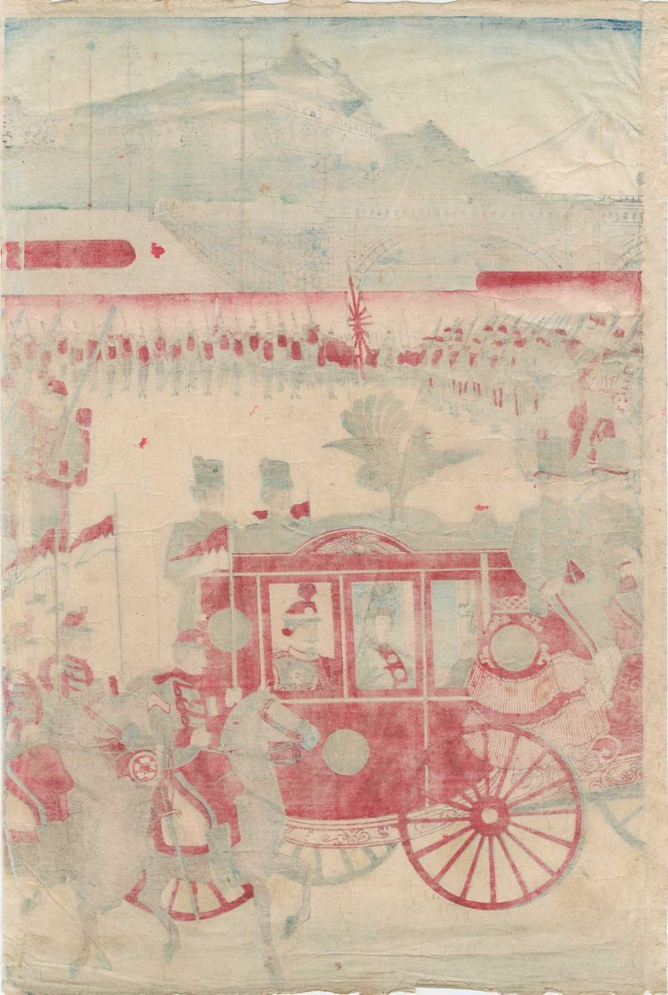 Utagawa School: Meiji Emperor's Horse Drawn Carriage, - 5