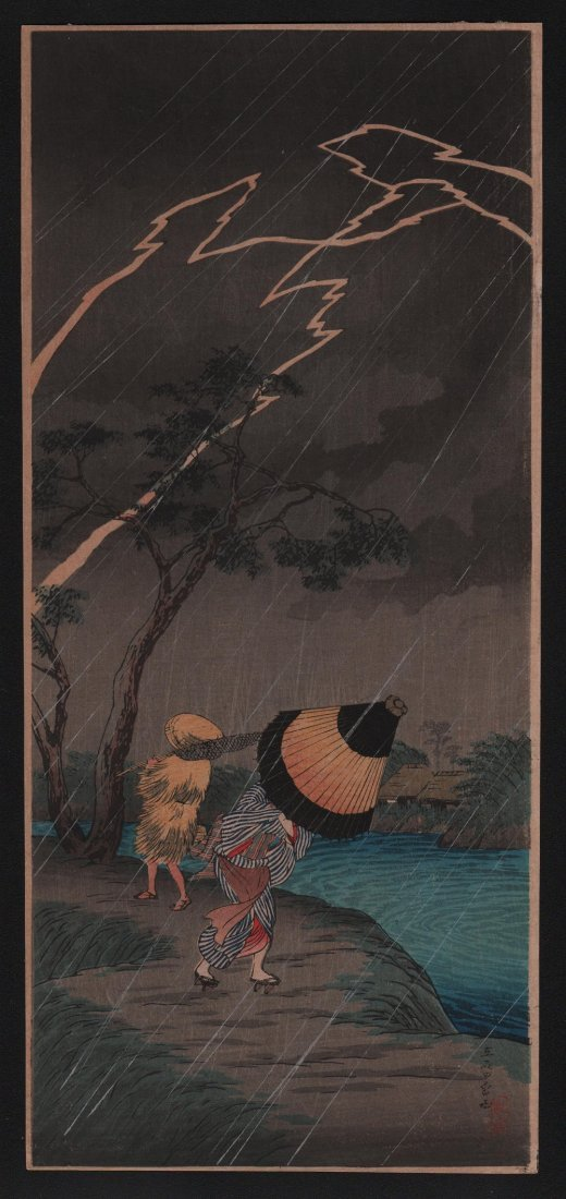 Takahashi Shotei: Thunderstorm at Tateishi, 1936
