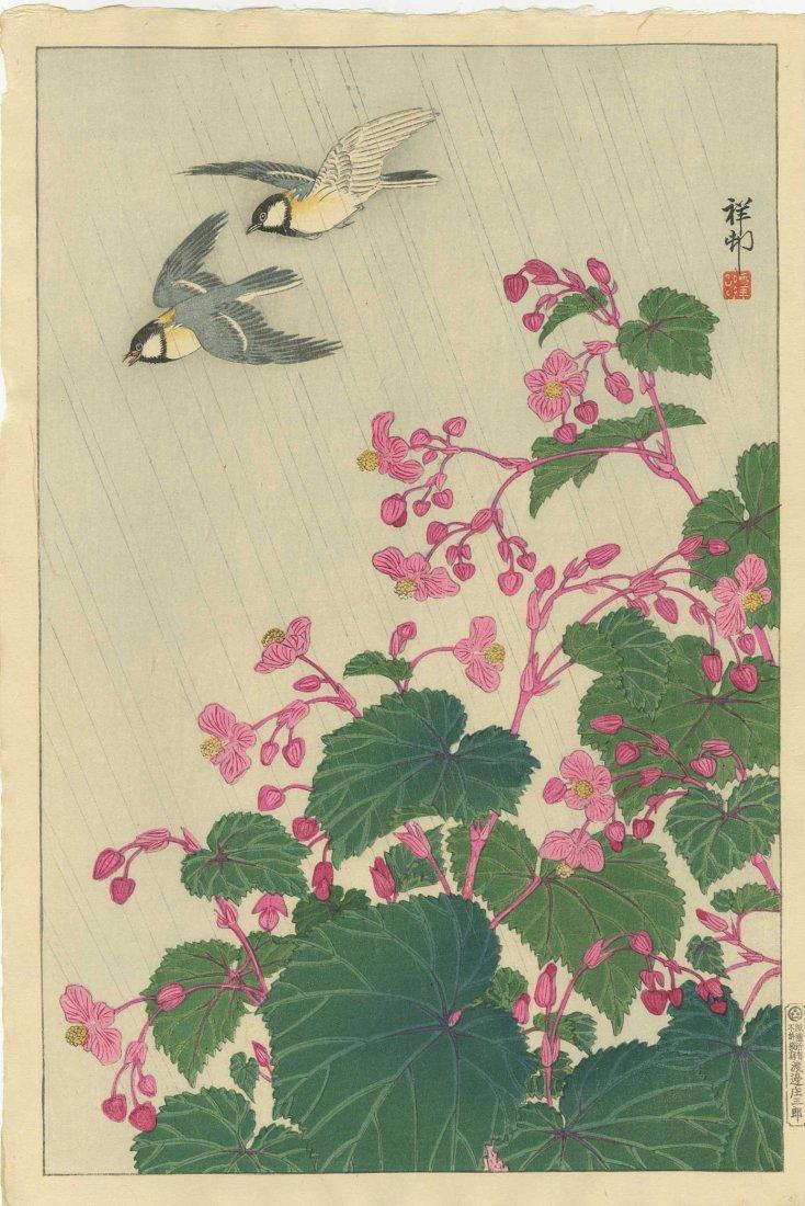 Ohara Koson: Great Tits and Begonias, 1932