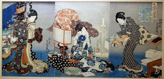 Utagawa Kunisada I: Bijin Triptych, 1847