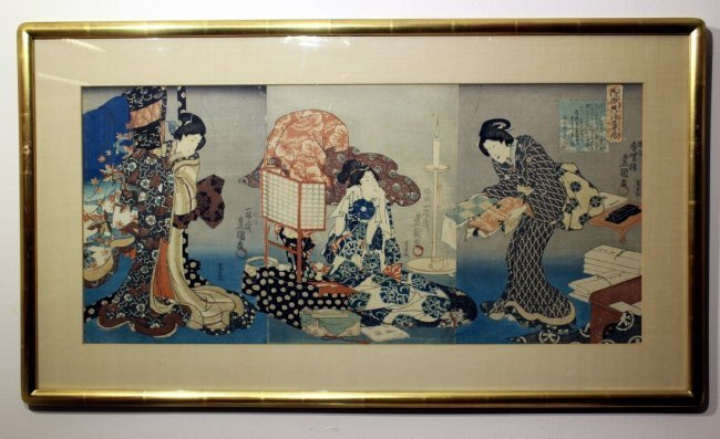 Utagawa Kunisada I: Bijin Triptych, 1847 - 2