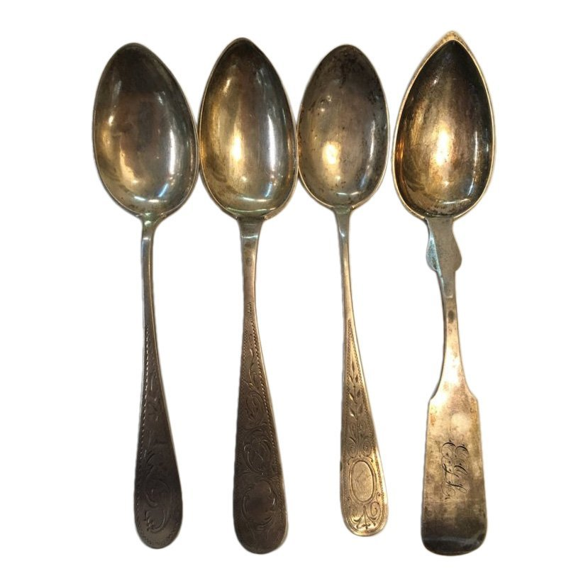 Four Assorted Big Silver Spoons