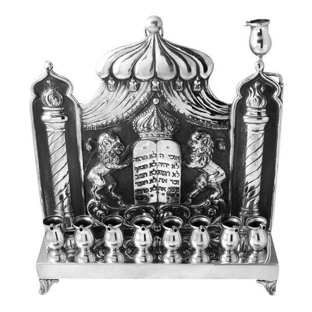 Antique Karl Junker Silver Hanukkah Menorah, 1927