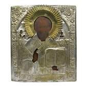 19th C Russian Icon St Nicholas of Myra, Brass Oklad
