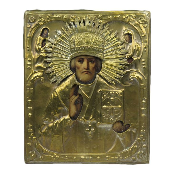 19th C Russian Icon St Nicholas of Myra, Brass Oklad