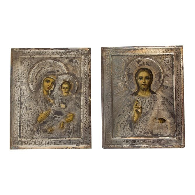 19th C Wedding Pair Russian Icons