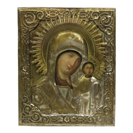 19th C Russian Icon Our Lady of Kazan, Silvered Oklad