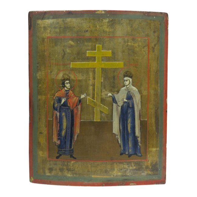 19th C Russian Icon Elevation of the True Cross
