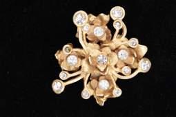 Christian Lacroix Gold Floral Rhinestone Brooch