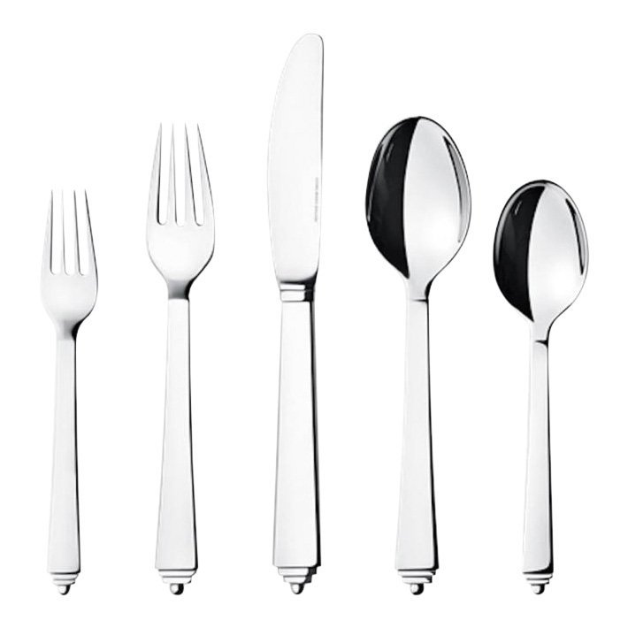 Georg Jensen: Pyramid Stainless Steel Flatware Set for