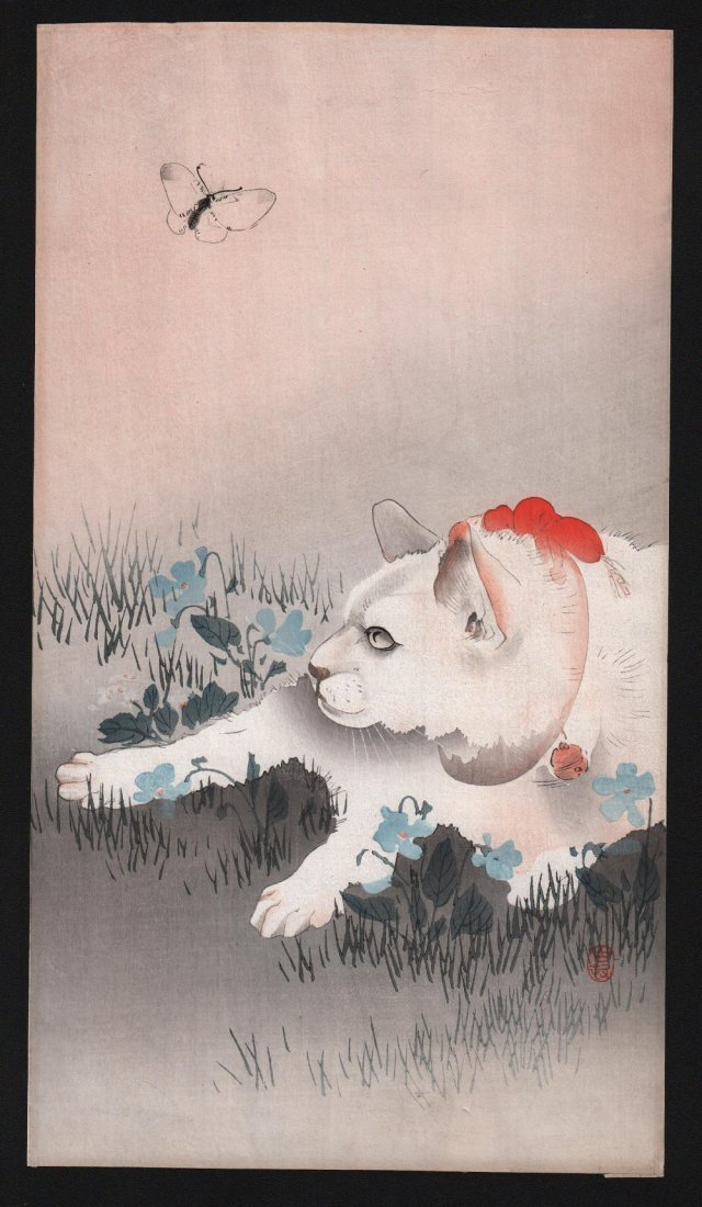 Ohara Koson: Cat and Butterfly