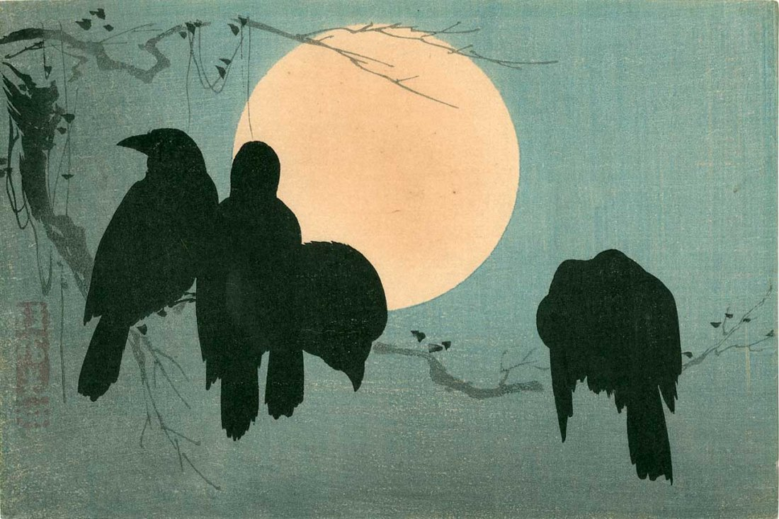 Ogata Korin: Four Crows and the Full Moon, 1920