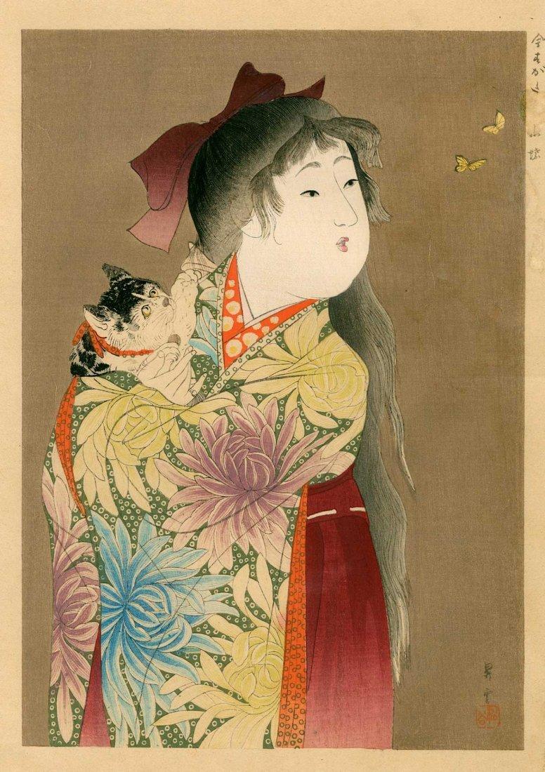 Yamamoto Shoun: Beautiful Girl Holding a Cat, 1905