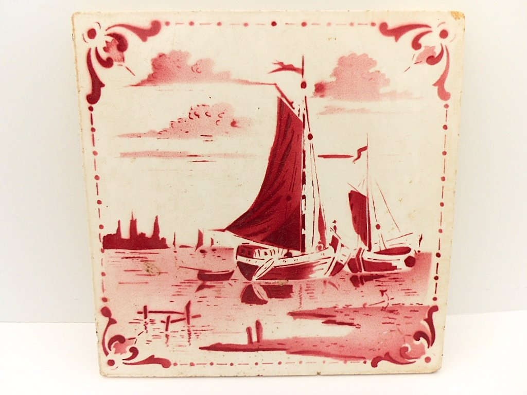 French Antique Red Sailboat Ceramic Tile