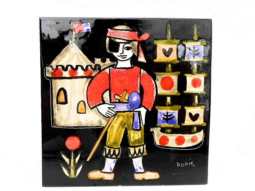 Jegou Dodik Hand Painted Naive Pirate French Tile