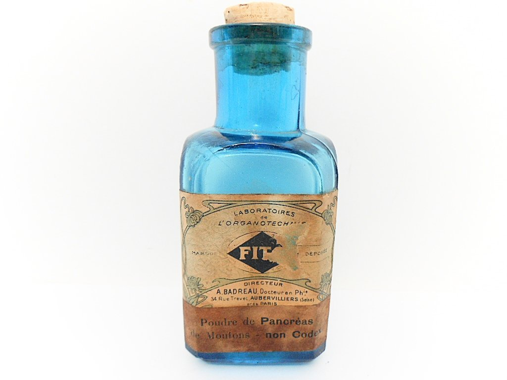 French Blue Glass Pharmacy Bottle / Apothecary Jar