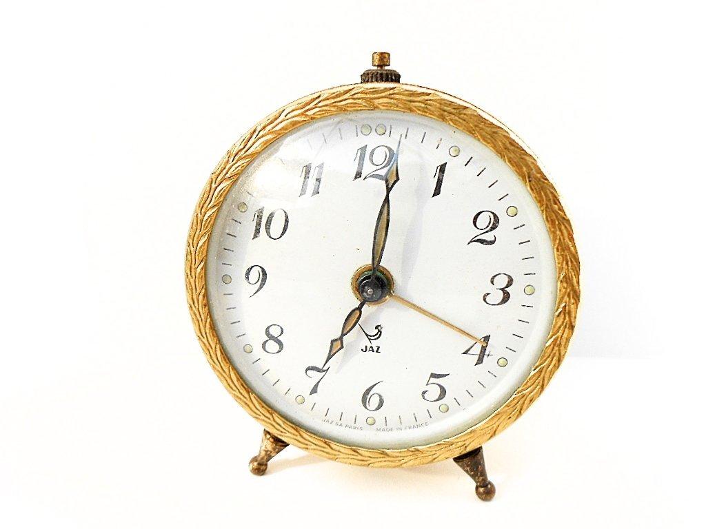 French Jaz Gold Tone Mid Century Alarm Clock