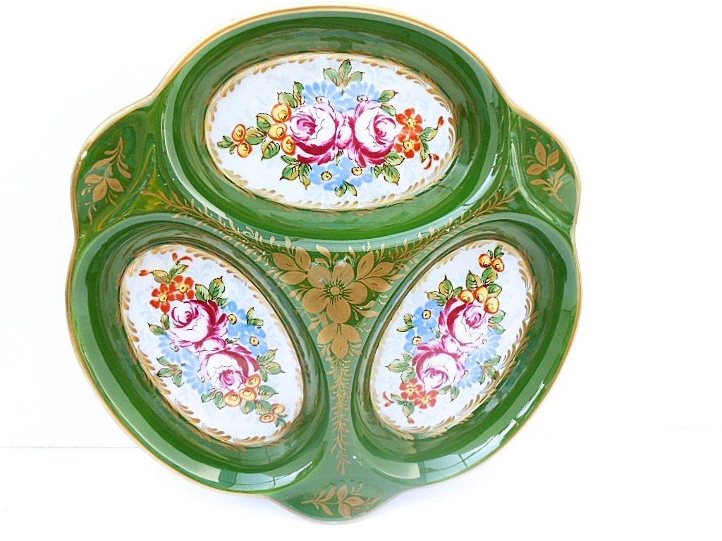 Pillivuyt Paris Porcelain Floral 3 Compartment Platter