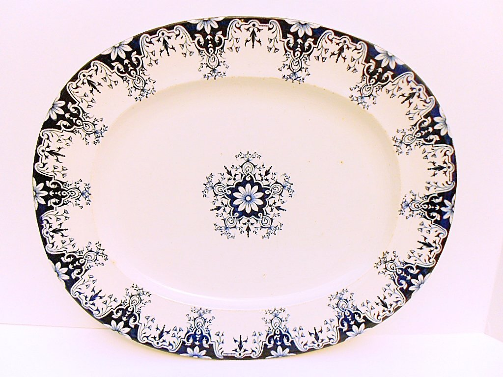French Antique Blue Rouen Pattern Faience Meat Platter