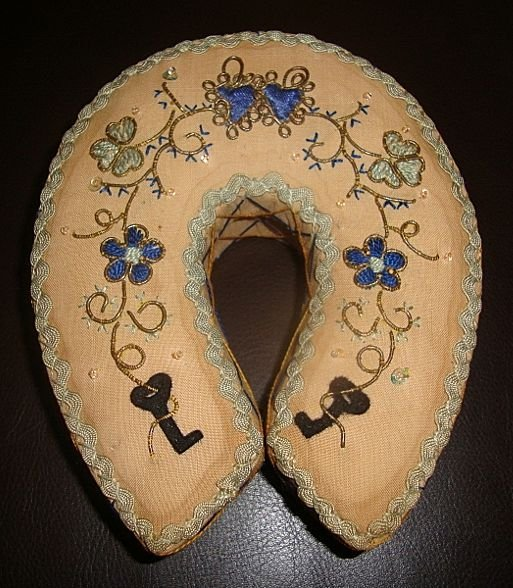 Antique Embroidered Horseshoe Sewing Box