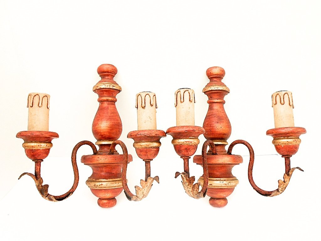Pair of French Patinated Wood 2 Light Sconces