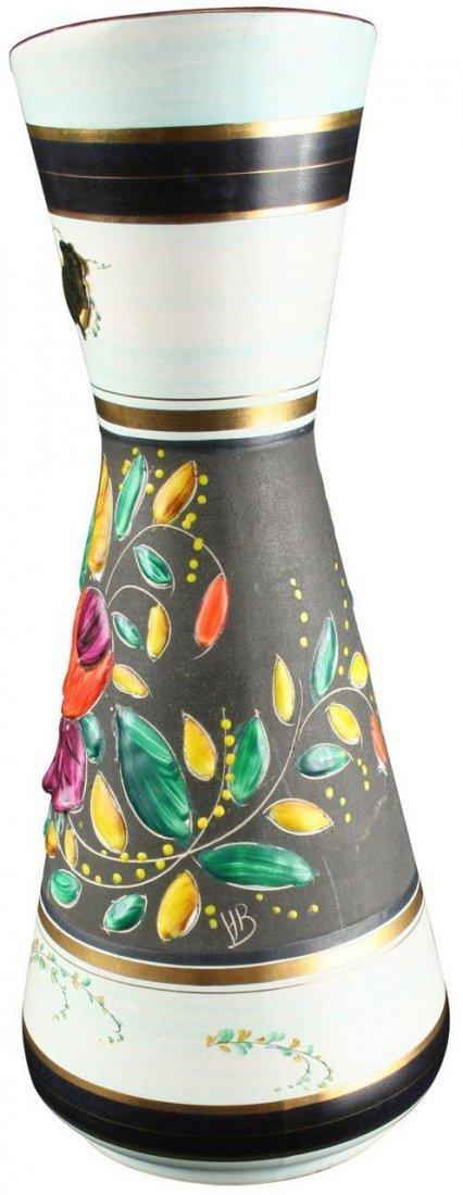 Vintage Hand-Painted Belgian Majolica Vase by Bequet