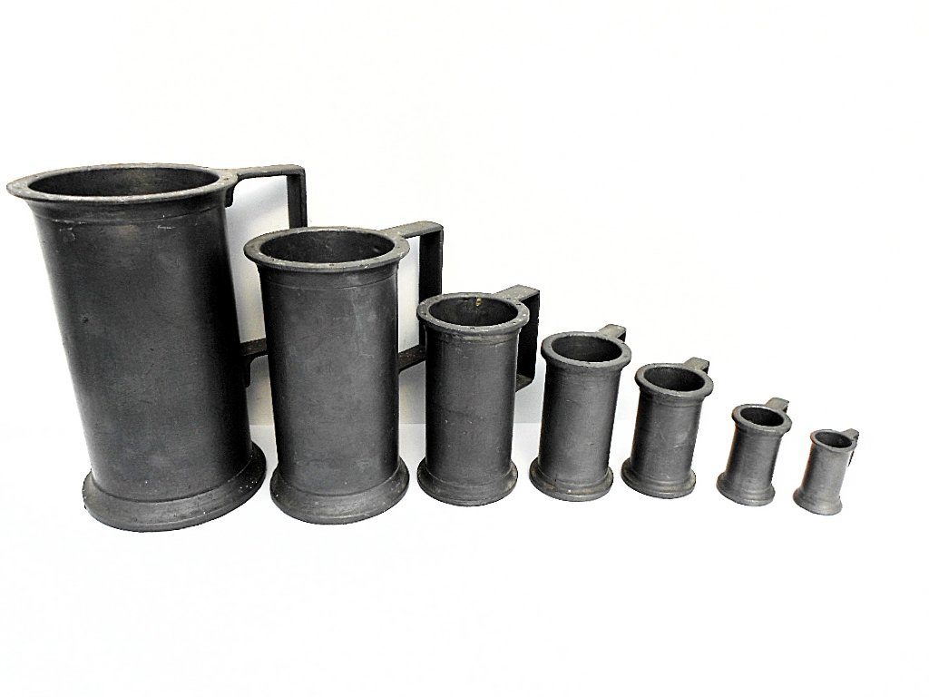 Set of 7 French Pewter Graduated Measures