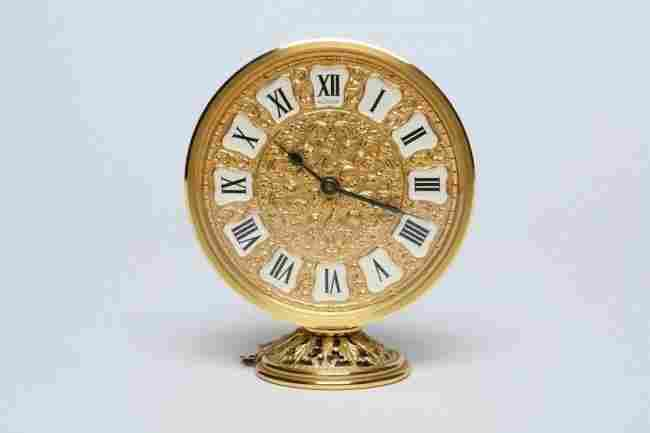 LeCoultre Gold 8 Day Desk Clock, 1960's