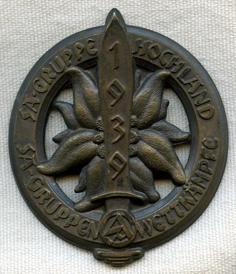 SA Gruppe Hochland Sports Competition Day Badge, 1939