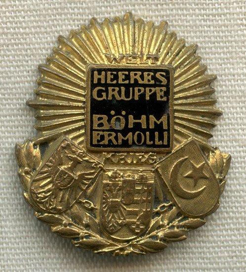 Rare WWI Austrian Army Group Bohm-Ermolli Cap Badge