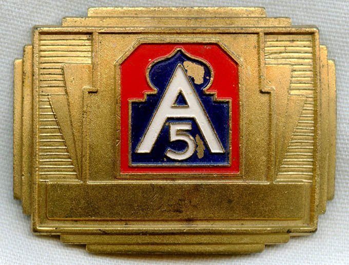 United States 5th Army Deco Belt Buckle, 1940's
