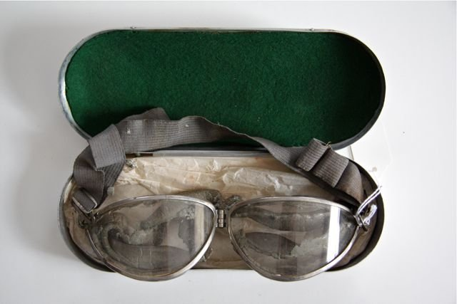 US Navy MK1 Style Fischer Pilot Goggles with Box, 1930s
