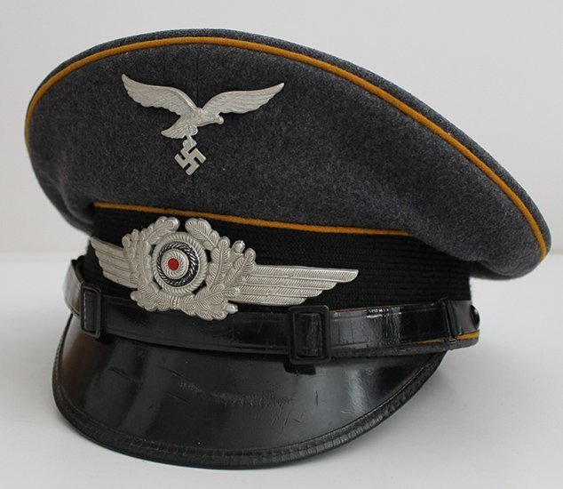 WWII Luftwaffe EM Visor Cap for Flight Personnel