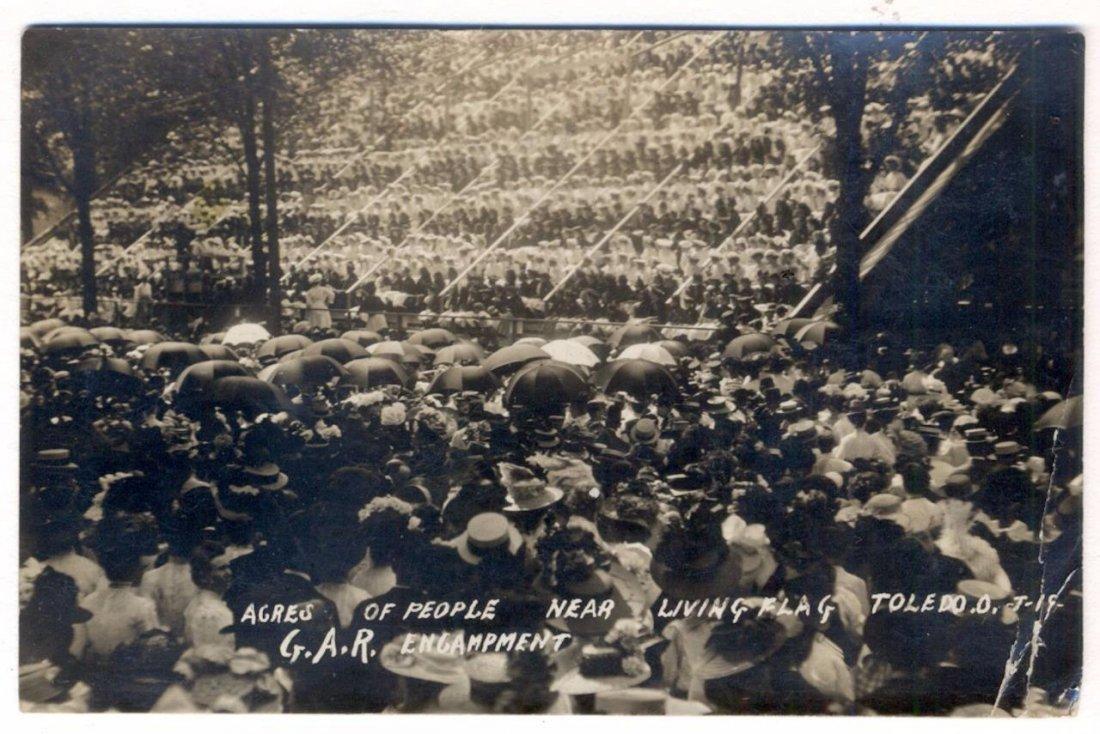 Photograph Postcard Living Flag with Crowd, 1908