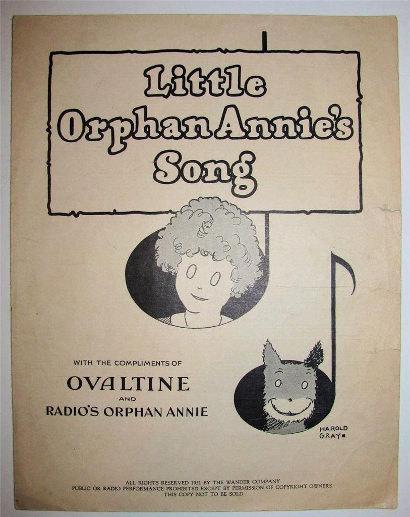 Vintage Sheet Music, Little Orphan Annie's Song, 1931
