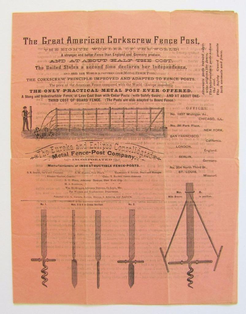 Antique Metal Fence Advertisement Brochure, 1884