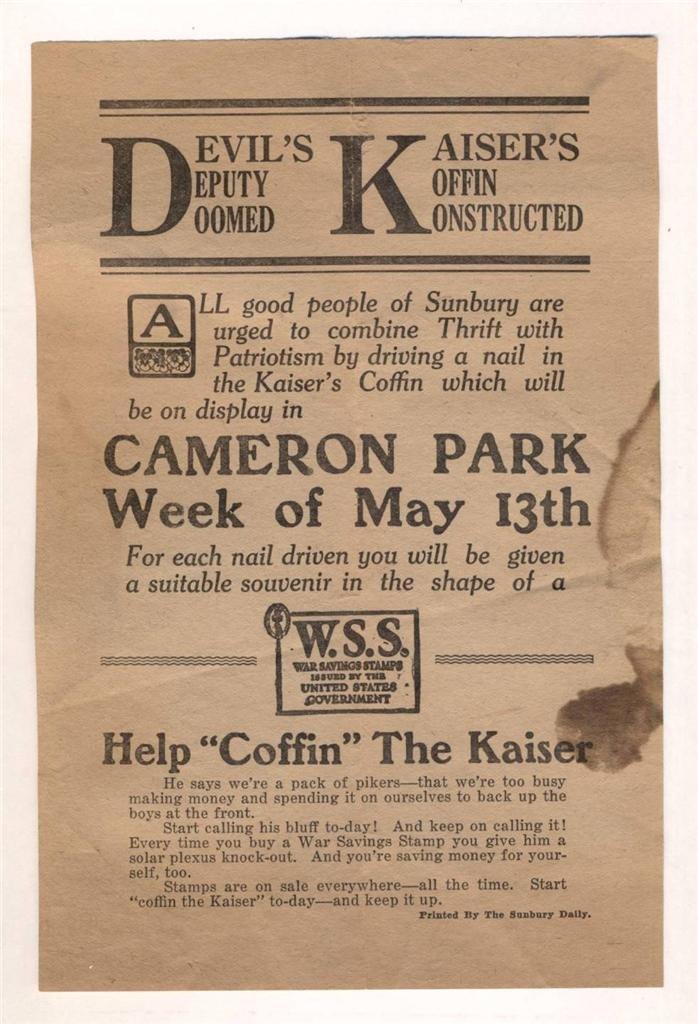 World War I Era Fundraising Broadside, 1916